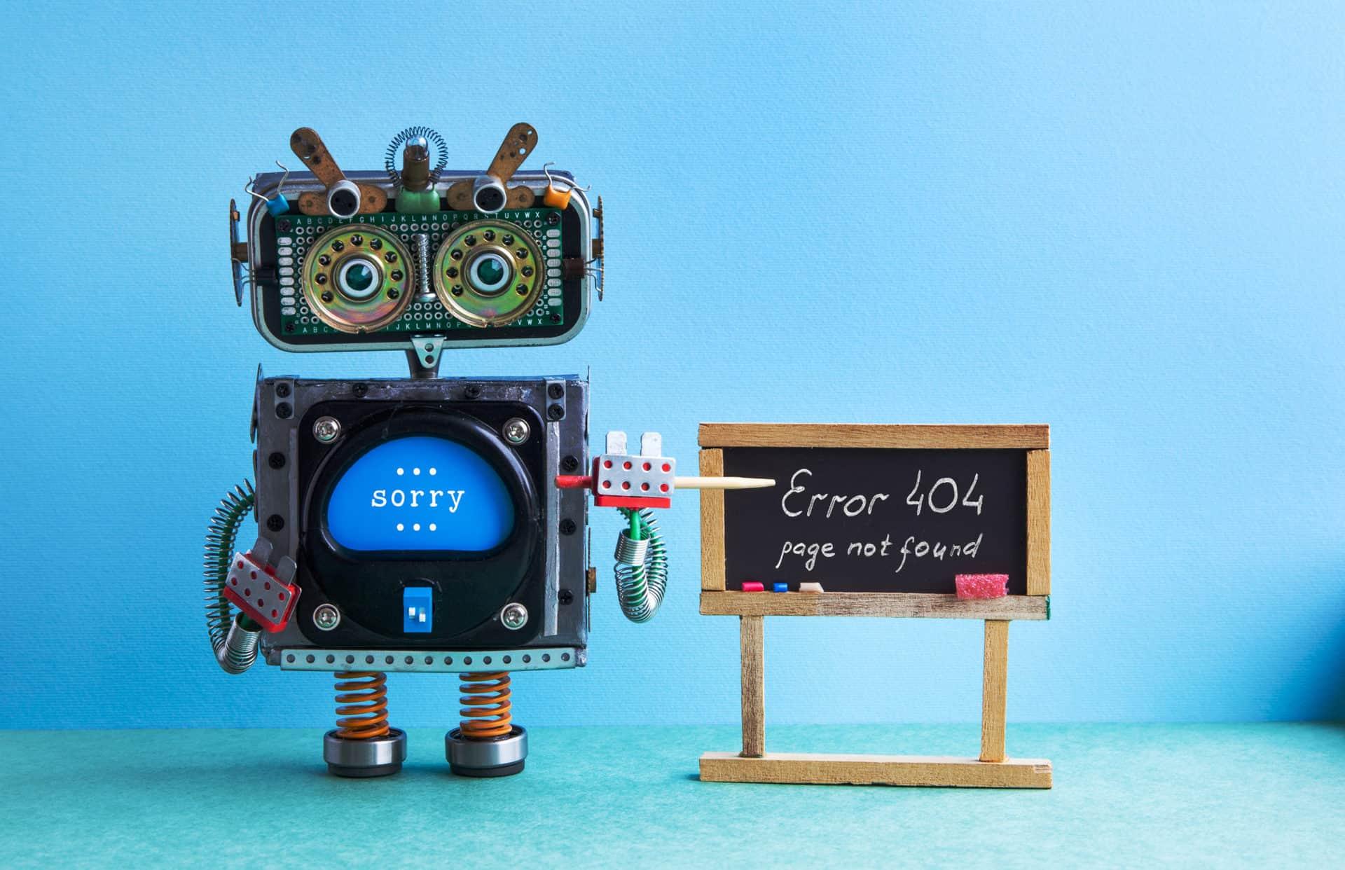 404 error page not found. Robot teacher with pointer, black chalkboard handwritten error message. Green blue background classroom interior.
