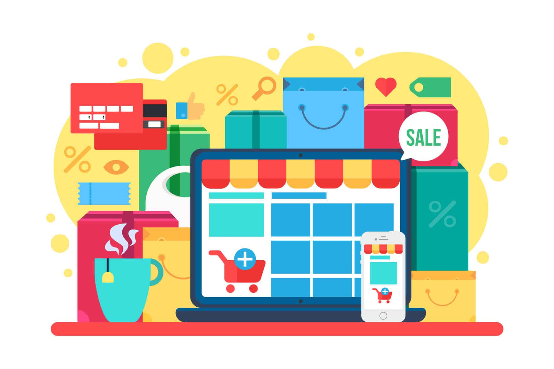 Online Shopping Concept for Retail Store on Laptop